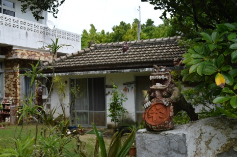 Shisa, the guardian of the houses in Okinawa -Fukugi trees (Common Garcinia) of Bise
